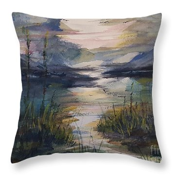 Morning Mountain Cove Throw Pillow
