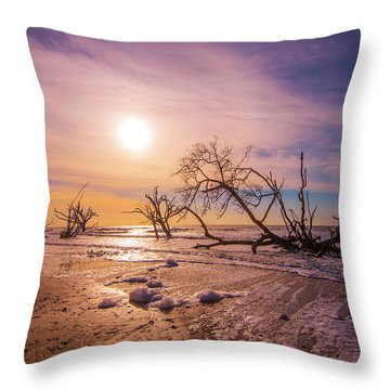 Throw Pillow featuring the photograph Morning On Boneyard Beach by Steven Ainsworth