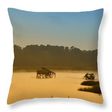 Morning On The Bay Throw Pillow by Bill Cannon