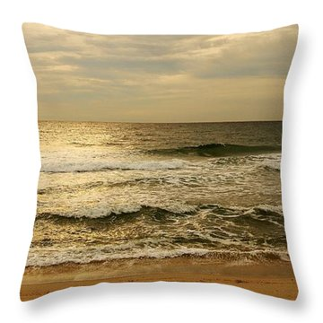 Morning On The Beach - Jersey Shore Throw Pillow