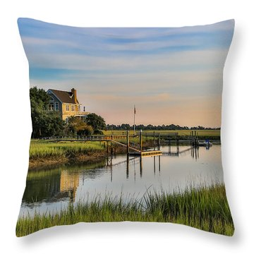 Morning On The Creek - Wild Dunes Throw Pillow