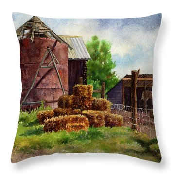 Morning On The Farm Throw Pillow by Anne Gifford