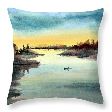 Throw Pillow featuring the painting Morning On The Lake by Sam Sidders