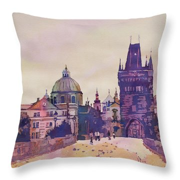 Morning On The St. Charles Bridge Throw Pillow