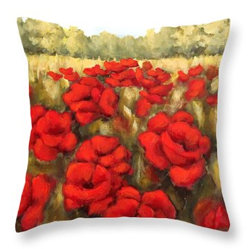Morning Poppies Throw Pillow