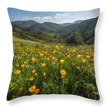 Morning Poppy Hillside Throw Pillow