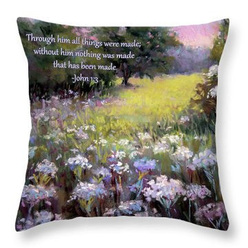Morning Praises With Bible Verse Throw Pillow