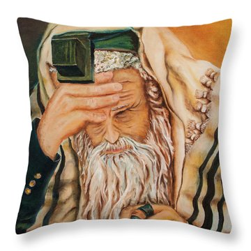 Throw Pillow featuring the painting Morning Prayer by Itzhak Richter