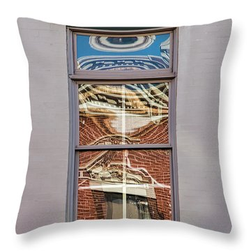 Throw Pillow featuring the photograph Morning Reflection In Window by Gary Slawsky