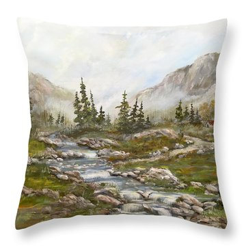 Morning Rising Fog Throw Pillow