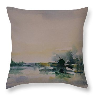 Morning River Abstract Throw Pillow