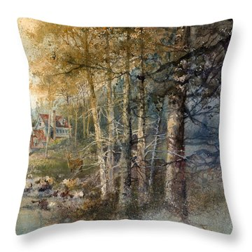 Morning River Throw Pillow by Andrew King