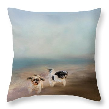 Morning Run At The Beach Throw Pillow