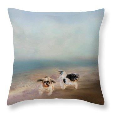 Morning Run At The Beach Throw Pillow