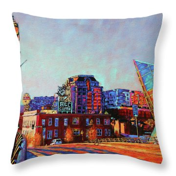 Morning Rush - The Corner Of Salem Avenue And Williamson Road In Roanoke Virginia Throw Pillow