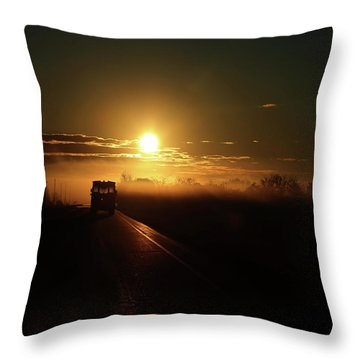 Morning School Bus  Throw Pillow