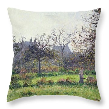 Morning Sun Throw Pillow by Camille Pissarro