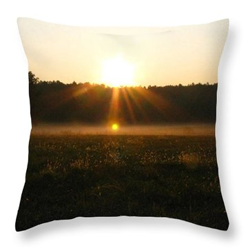Throw Pillow featuring the photograph Morning Sun Lite Field by Donna Brown