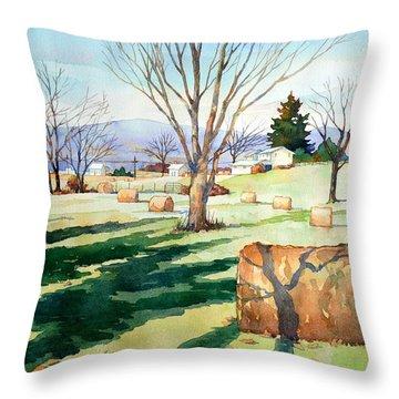 Morning Sun On Haybales Throw Pillow