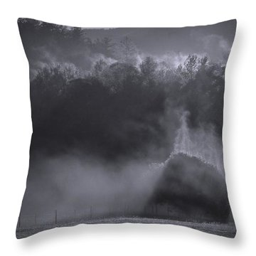 Throw Pillow featuring the photograph Morning Sun Rising Fog Cades Cove by Dan Sproul