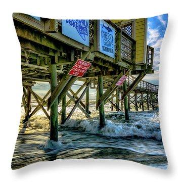 Morning Sun Under The Pier Throw Pillow