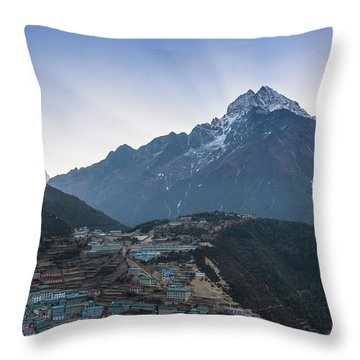 Throw Pillow featuring the photograph Morning Sunrays Namche by Mike Reid