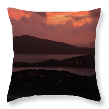 Morning Sunrise From St. Thomas In The U.s. Virgin Islands Throw Pillow by Jetson Nguyen