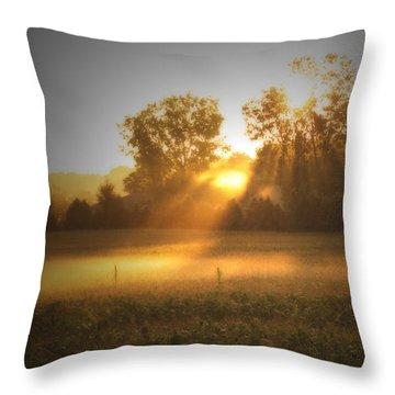Morning Sunrise On The Cornfield Throw Pillow