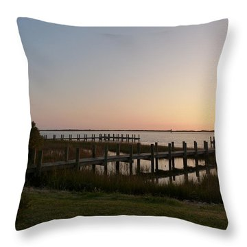 Morning Sunrise Over Assateaque Island Throw Pillow by Donald C Morgan