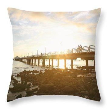 Morning Sunshine At The Pier  Throw Pillow