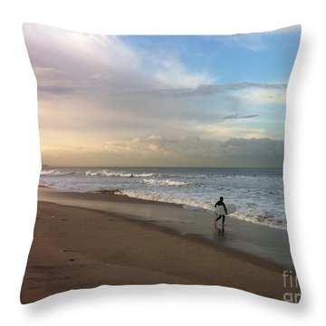 Morning Surfer Throw Pillow