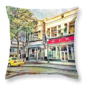 Morning Taxi Downtown Urban Scene Throw Pillow