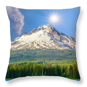 Morning View Of The Mt Hood Throw Pillow