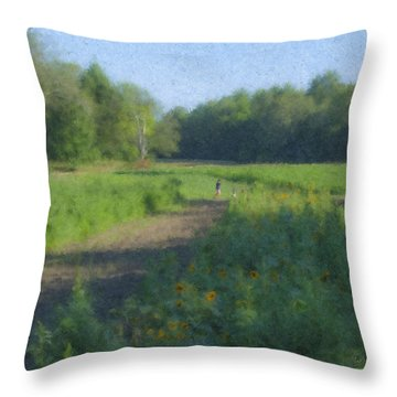 Morning Walk At Langwater Farm Throw Pillow