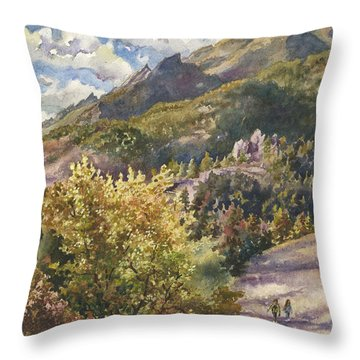 Morning Walk At Mount Sanitas Throw Pillow by Anne Gifford