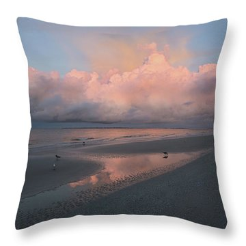 Throw Pillow featuring the photograph Morning Walk On The Beach by Kim Hojnacki