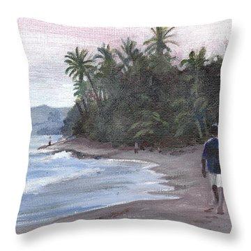 Morning Walk Throw Pillow by Sarah Lynch
