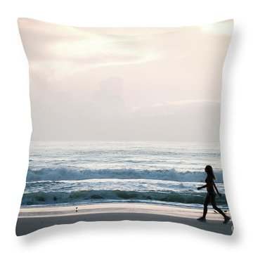Morning Walk With Color Throw Pillow