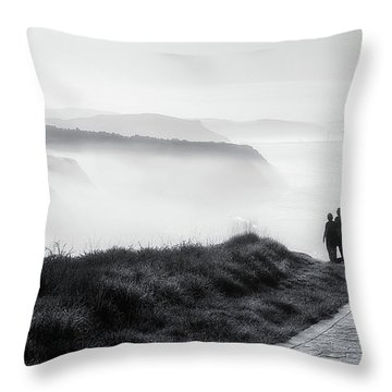 Morning Walk With Sea Mist Throw Pillow