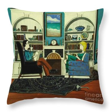 Morning With The Cats While Sitting In Chairs Throw Pillow by John Lyes