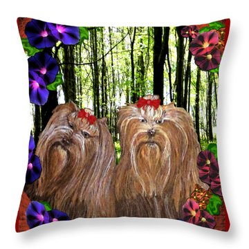 Throw Pillow featuring the digital art Morning Yorkies by Michelle Audas