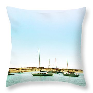 Moro Bay Inlet With Sailboats Mooring In Summer Throw Pillow