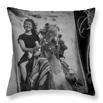 Throw Pillow featuring the photograph Moroccan Camel Trek by Kathy Kelly