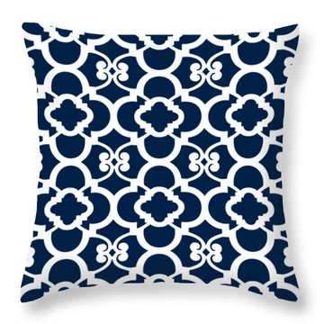 Moroccan Floral Inspired With Border In Oxford Blue Throw Pillow
