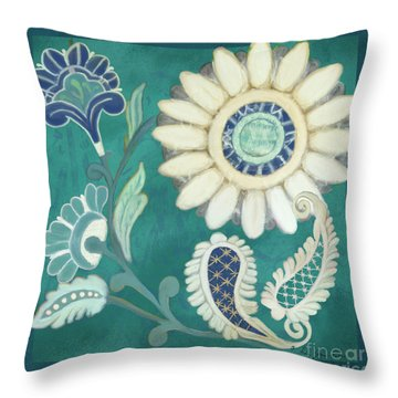 Throw Pillow featuring the painting Moroccan Paisley Peacock Blue 2 by Audrey Jeanne Roberts