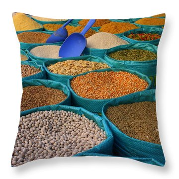 Throw Pillow featuring the photograph Moroccan Spice Market by Ramona Johnston
