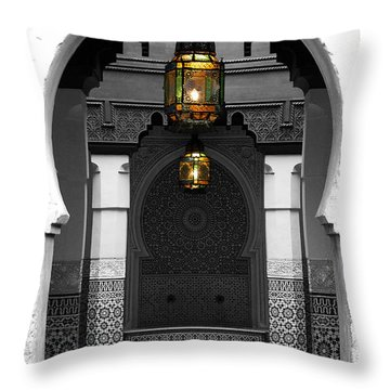Throw Pillow featuring the digital art Moroccan Style Doorway Lamps Courtyard And Fountain Color Splash Black And White by Shawn O'Brien