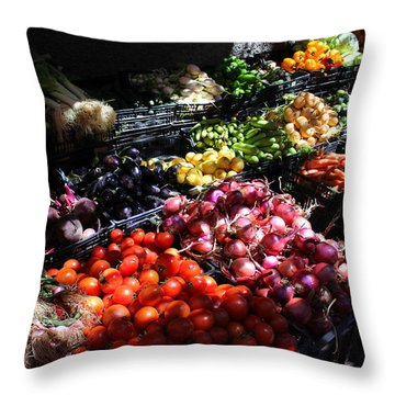 Throw Pillow featuring the photograph Moroccan Vegetable Market by Ramona Johnston
