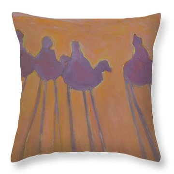 Morocco, Camels, Riders And Shadows. Throw Pillow
