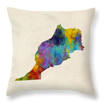 Throw Pillow featuring the digital art Morocco Watercolor Map by Michael Tompsett